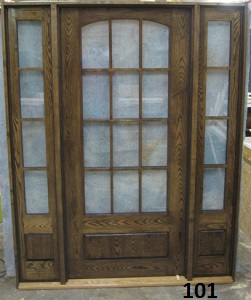 Arch glass exterior door with sidelights