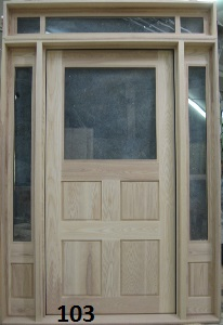 Hardwood door with transome and sidelights