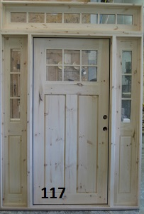pine door with sidelights and transome