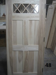 Hardwood door with diamond grill