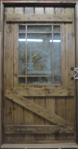 wood door with etched glass